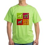 Dalmatian Silhouette Pop Art Green T-Shirt
