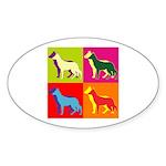 German Shepherd Silhouette Pop Art Sticker (Oval)