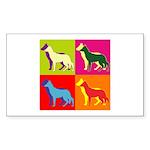 German Shepherd Silhouette Pop Art Sticker (Rectan
