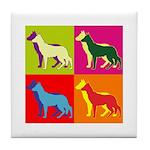 German Shepherd Silhouette Pop Art Tile Coaster