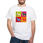 German Shepherd Silhouette Pop Art White T-Shirt