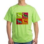 German Shepherd Silhouette Pop Art Green T-Shirt