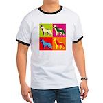 German Shepherd Silhouette Pop Art Ringer T