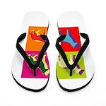 German Shepherd Silhouette Pop Art Flip Flops