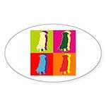 German Shepherd Silhouette Pop Art Sticker (Oval 5