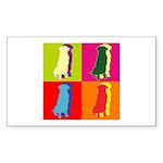 Golden Retriever Silhouette Pop Art Sticker (Recta