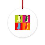 German Shepherd Silhouette Pop Art Ornament (Round