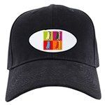 Golden Retriever Silhouette Pop Art Black Cap