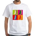 Golden Retriever Silhouette Pop Art White T-Shirt