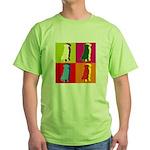 Golden Retriever Silhouette Pop Art Green T-Shirt