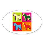Fox Terrier Silhouette Pop Art Sticker (Oval)