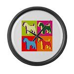 Fox Terrier Silhouette Pop Art Large Wall Clock