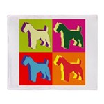 Fox Terrier Silhouette Pop Art Throw Blanket