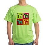 Fox Terrier Silhouette Pop Art Green T-Shirt