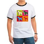 Fox Terrier Silhouette Pop Art Ringer T