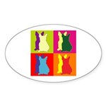 French Bulldog Silhouette Pop Art Sticker (Oval 10