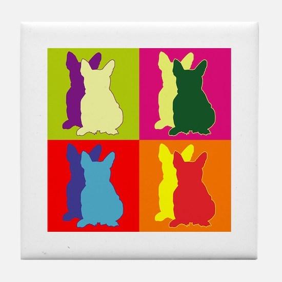 French Bulldog Silhouette Pop Art Tile Coaster