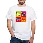 Labrador Retriever Silhouette Pop Art White T-Shir