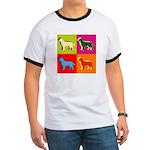 Labrador Retriever Silhouette Pop Art Ringer T