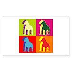 Pitbull Terrier Silhouette Pop Art Sticker (Rectan