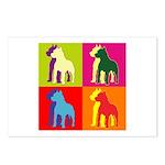 Pitbull Terrier Silhouette Pop Art Postcards (Pack