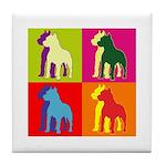 Pitbull Terrier Silhouette Pop Art Tile Coaster
