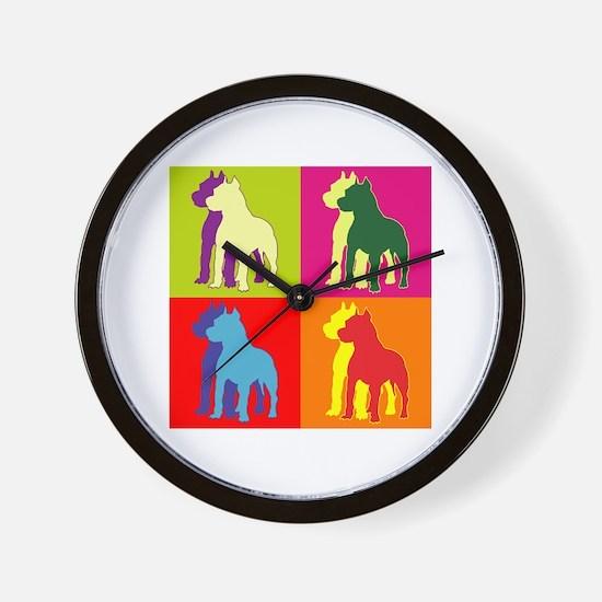 Pitbull Terrier Silhouette Pop Art Wall Clock