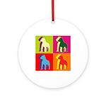 Pitbull Terrier Silhouette Pop Art Ornament (Round