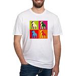 Pitbull Terrier Silhouette Pop Art Fitted T-Shirt