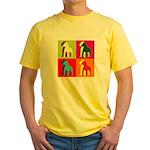 Pitbull Terrier Silhouette Pop Art Yellow T-Shirt