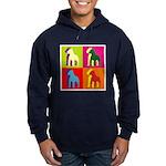 Pitbull Terrier Silhouette Pop Art Hoodie (dark)