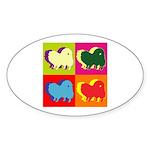 Pomeranian Silhouette Pop Art Sticker (Oval)