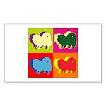 Pomeranian Silhouette Pop Art Sticker (Rectangle 1