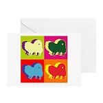 Pomeranian Silhouette Pop Art Greeting Cards (Pk o