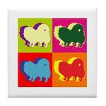 Pomeranian Silhouette Pop Art Tile Coaster