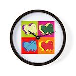 Pomeranian Silhouette Pop Art Wall Clock