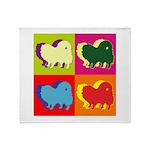 Pomeranian Silhouette Pop Art Throw Blanket