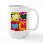 Pomeranian Silhouette Pop Art Large Mug