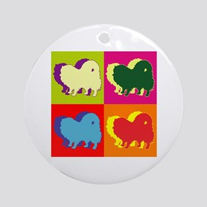 Pomeranian Silhouette Pop Art Ornament (Round)