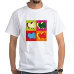 Pomeranian Silhouette Pop Art White T-Shirt