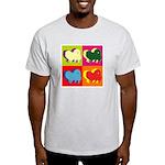 Pomeranian Silhouette Pop Art Light T-Shirt