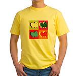 Pomeranian Silhouette Pop Art Yellow T-Shirt