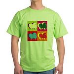 Pomeranian Silhouette Pop Art Green T-Shirt