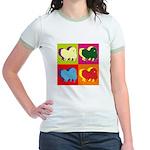 Pomeranian Silhouette Pop Art Jr. Ringer T-Shirt
