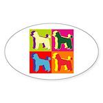 Poodle Silhouette Pop Art Sticker (Oval)