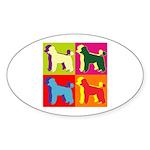 Poodle Silhouette Pop Art Sticker (Oval 10 pk)