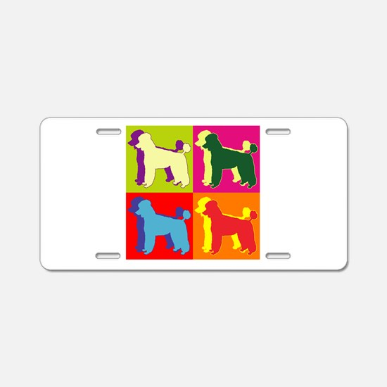 Poodle Silhouette Pop Art Aluminum License Plate