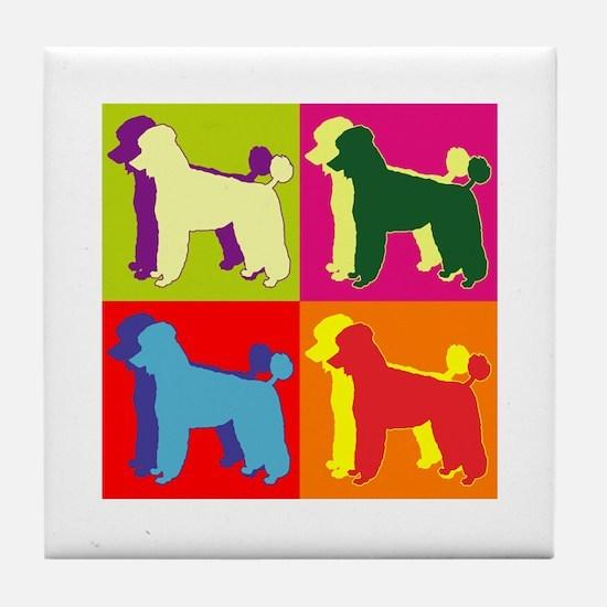 Poodle Silhouette Pop Art Tile Coaster