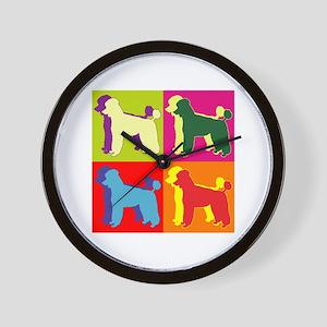 Poodle Silhouette Pop Art Wall Clock