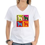 Poodle Silhouette Pop Art Women's V-Neck T-Shirt